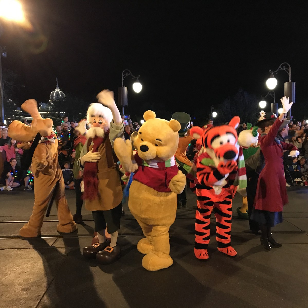 Just a few of the characters decked out in their holiday best for the parade during Mickey's Very Merry Christmas Party.