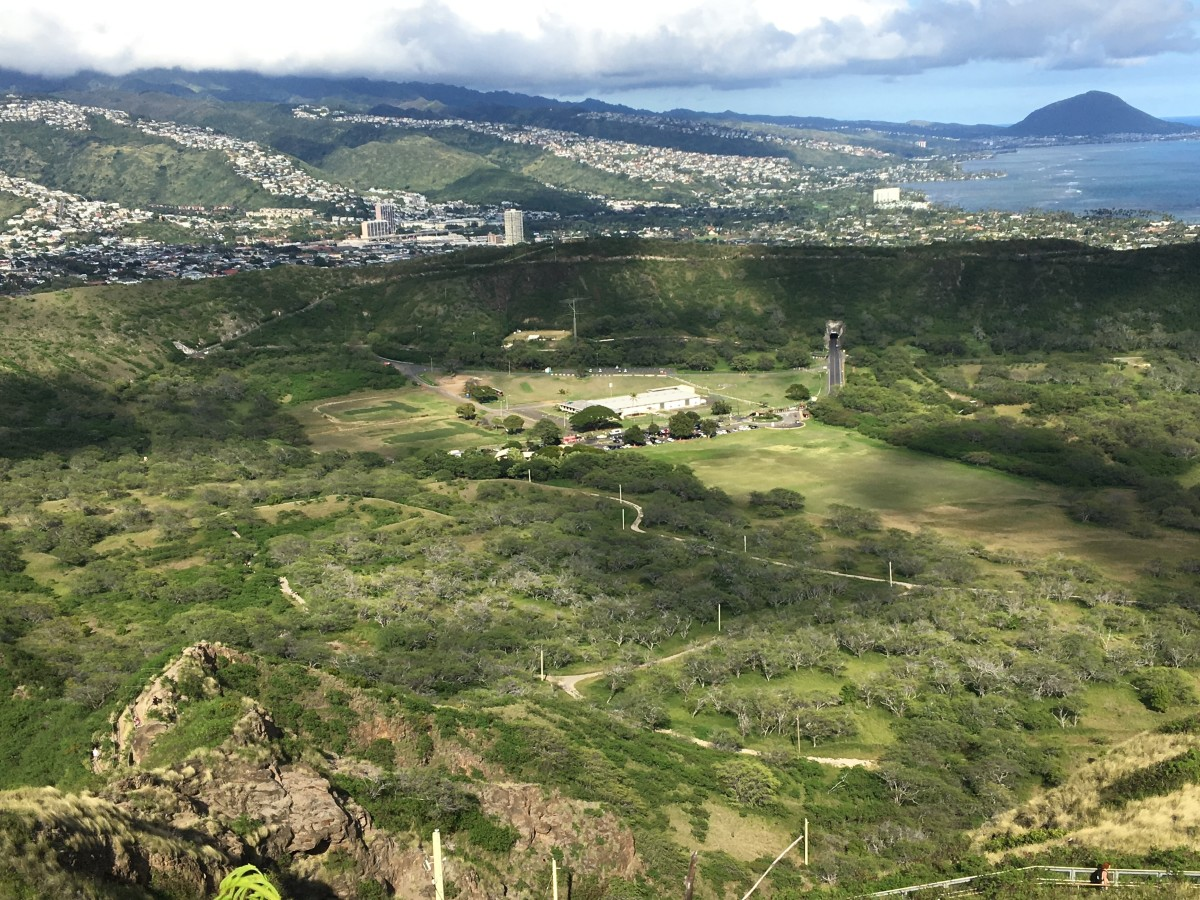 View of the Inside of Diamond Head Crater From the Top of the Hike