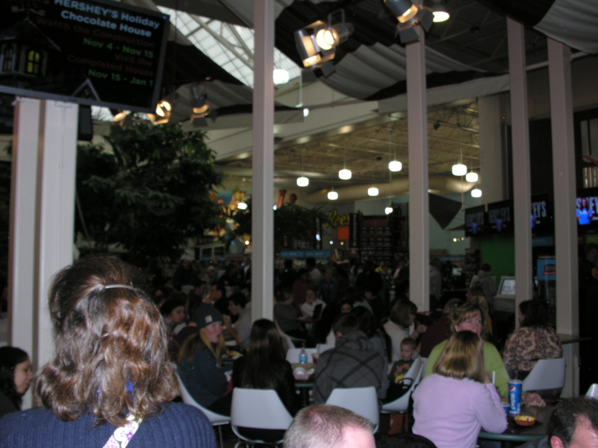 Food Court at Chocolate World, 2014.  There was a school band competition in Hershey this day.