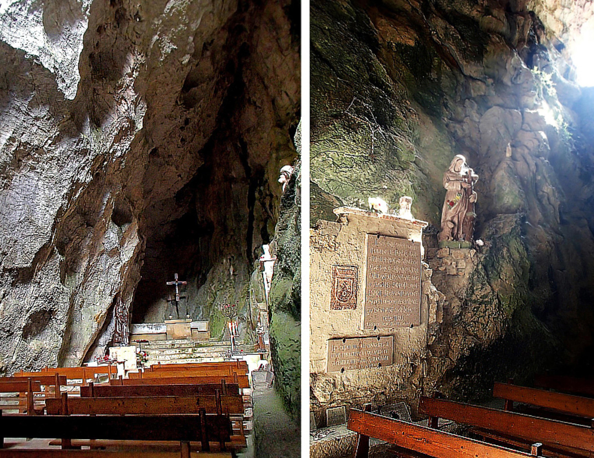 Left: The cave chapel still holds services on Easter and Christmas holidays.  Right: Sunlight streams through an opening on the cave's wall.