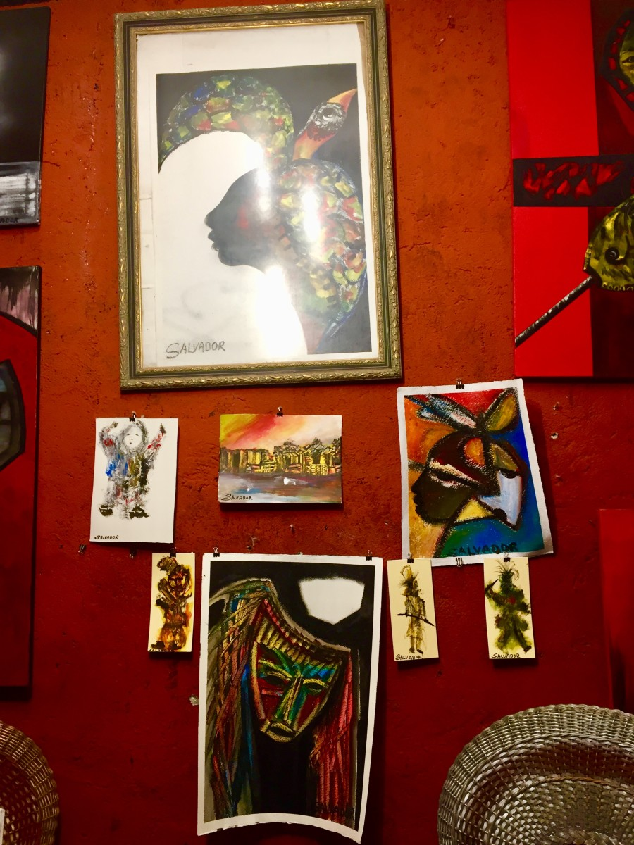 From Gallery Salvador. The proprietor, Cuban artist Salvador Gonzáles Escalona, is a muralist, painter and sculptor. His works draw inspiration from Afro-Cuban culture, and he describes his art as a mixture of cubism, surrealism and the abstract.