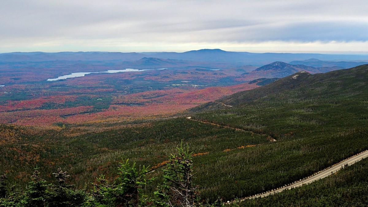 The view from the top of Whiteface Mountain after driving up the Veteran's Memorial Highway. In the distance, the orange, yellow and red trees beamed.