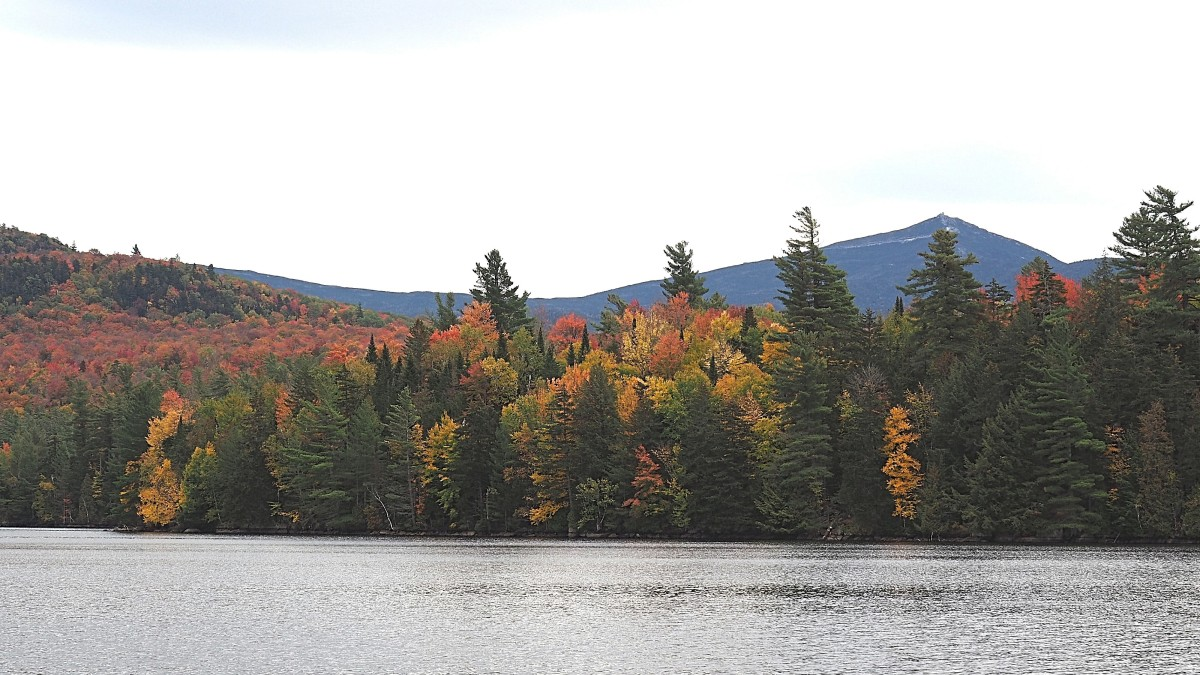 One of the many beautiful lakes along a back road in the Adirondack mountains.