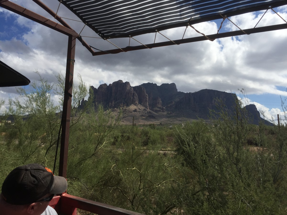 View of the Superstition Mountains from the Goldfield Narrow Gauge Railroad.