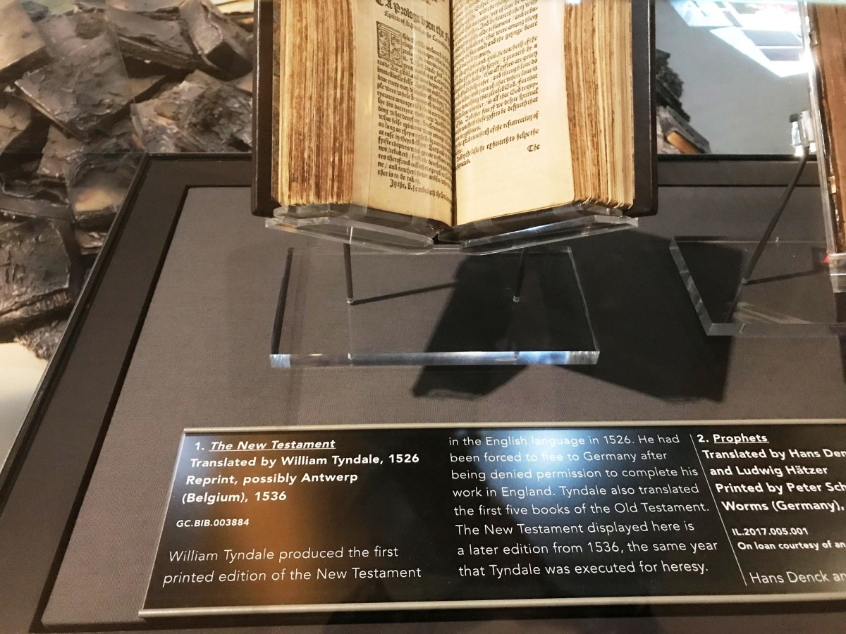 William Tyndale New Testament  at the Museum of the Bible in Washington DC