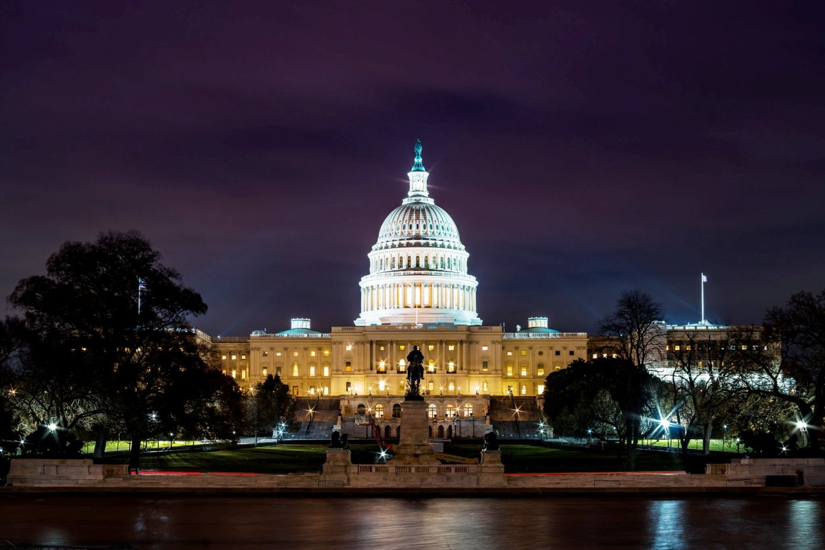 U.S. Capitol Building at night in Washington DC