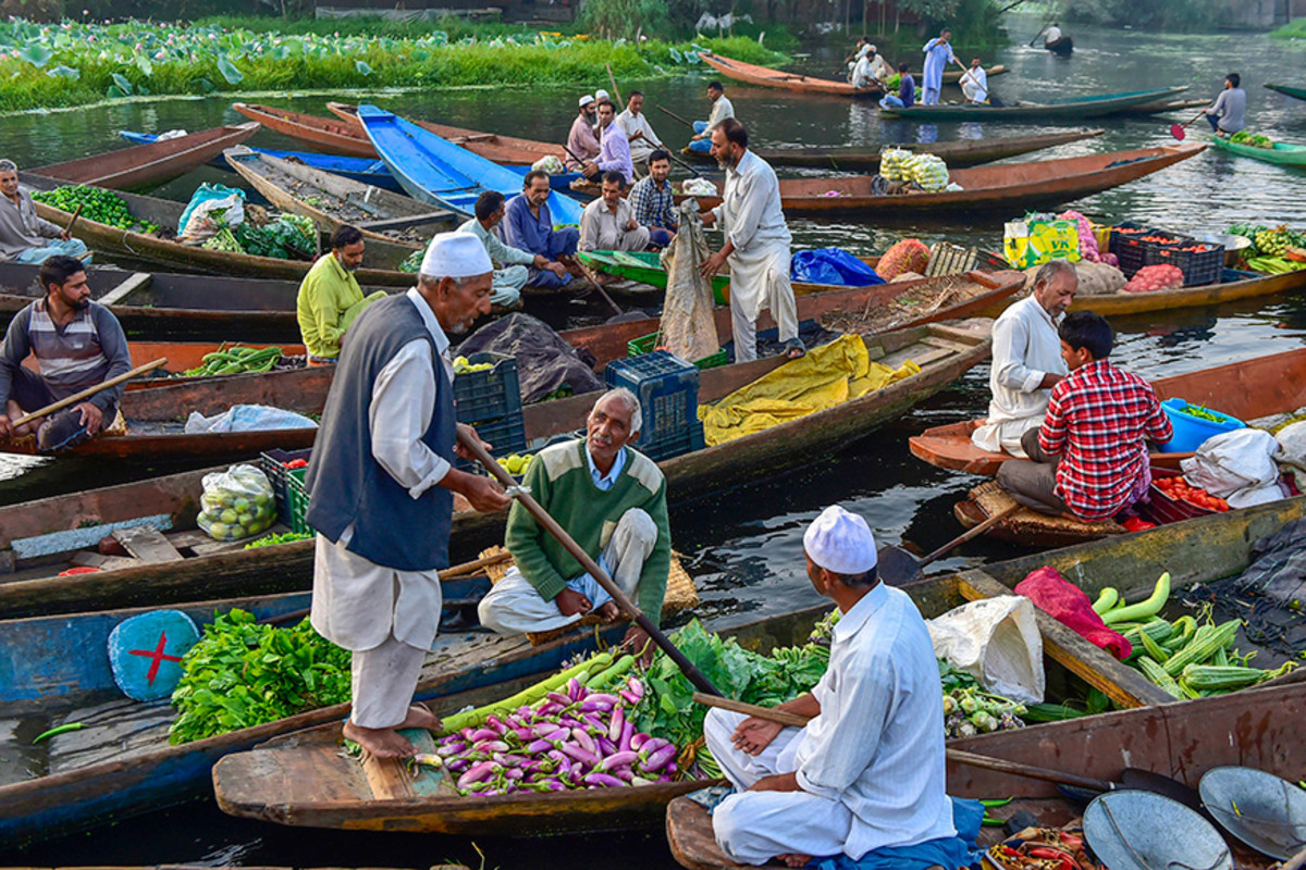 The floating vegetable market in the interiors of Dal Lake, Srinagar, Kashmir.