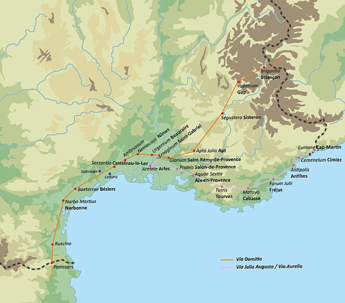 "Map of the Old Roman Road ""Via Domitia"""