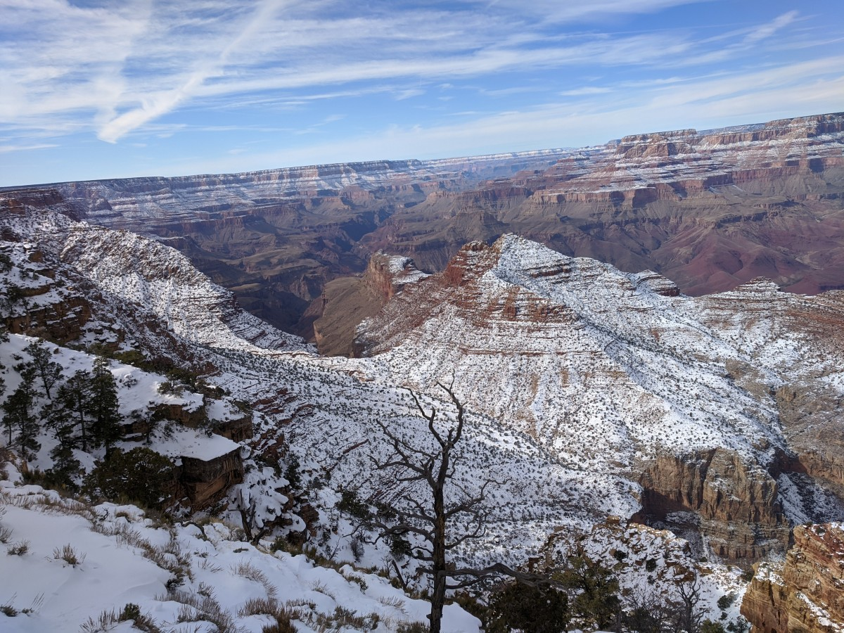 Looking Across the Snow-Covered Grand Canyon