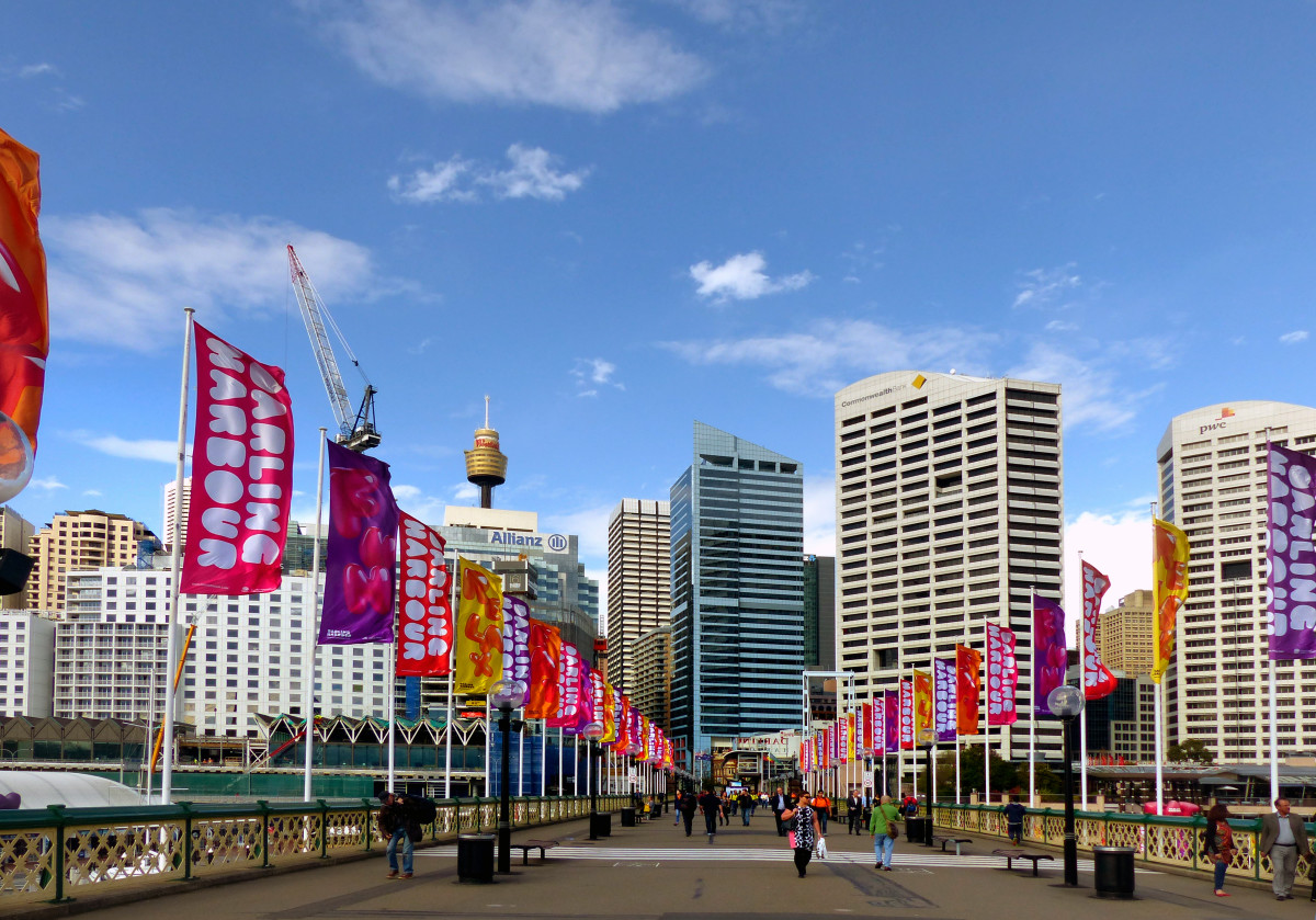 Walking around Sydney is a free and easy mode of transportation.  In this picture, Darling Harbour, with a view of the CBD.