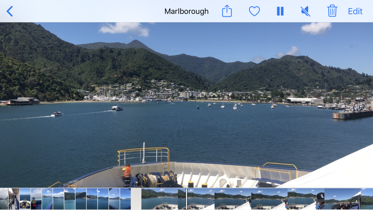 Arriving into Picton. Photo clipped from a video.