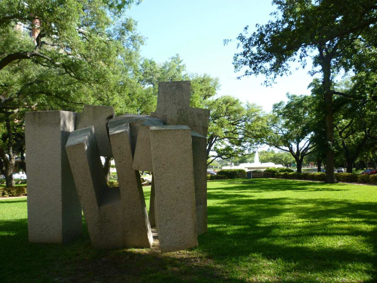 Granite sculpture titled Song of Strength by Eduardo Chillida on the front lawn of MFAH