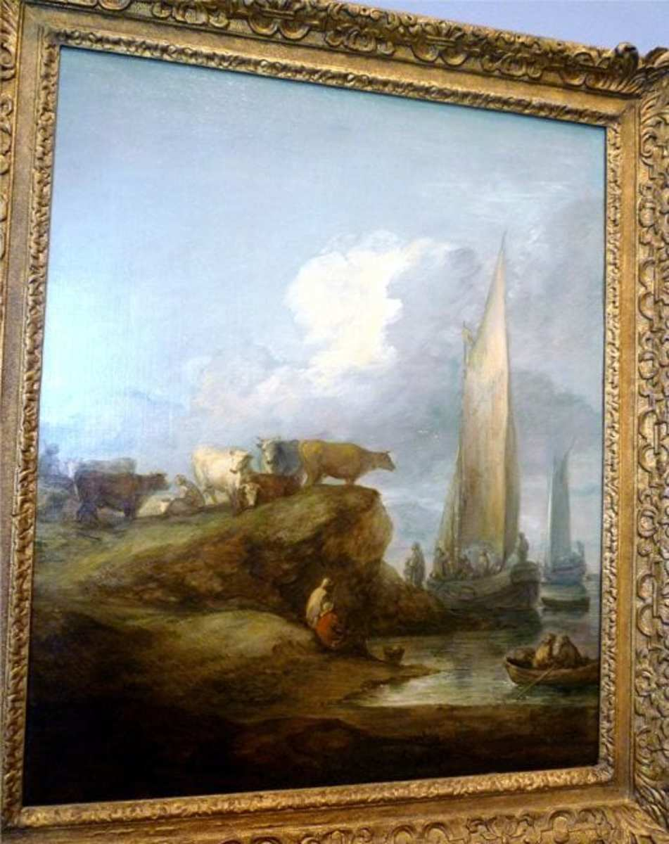Coastal Scene with Shipping and Cattle by Thomas Gainsborough