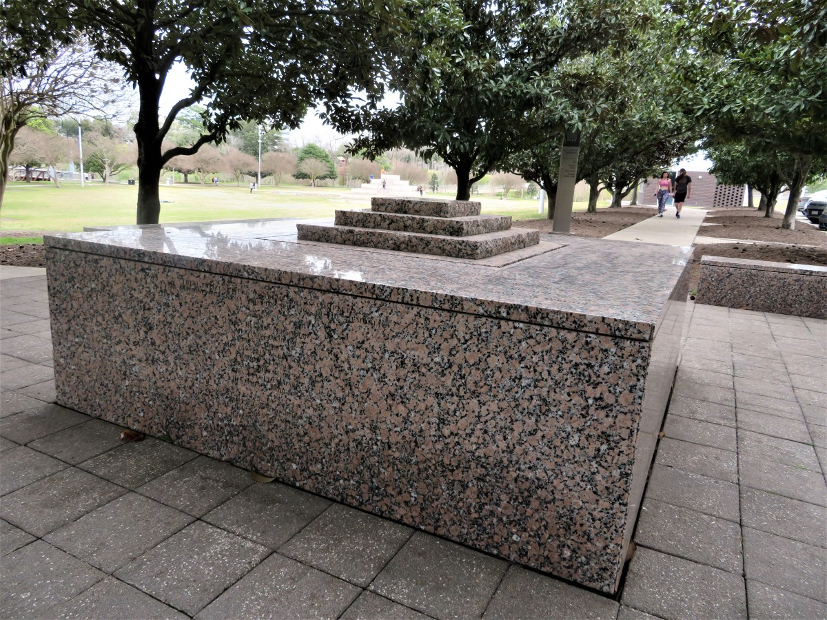 Names of police officers who have died in the line of duty are inscribed onto this granite monument.
