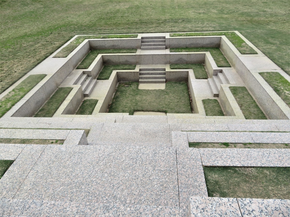 Looking down at one of the four sides of the monument from above.