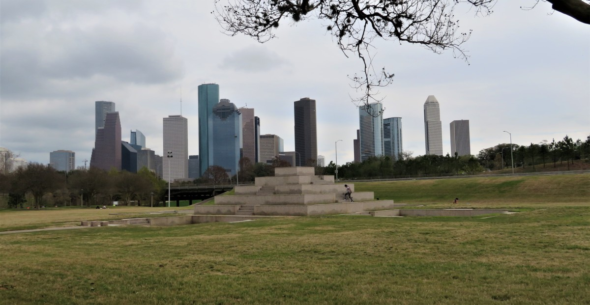 View of the Houston Police Officers' Memorial and downtown buildings