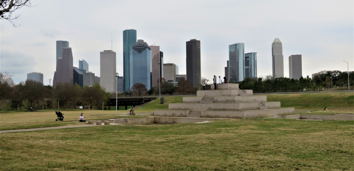 Houston Police Officers' Memorial and downtown buildings in background