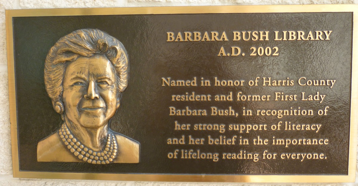 Barbara Bush Library Plaque