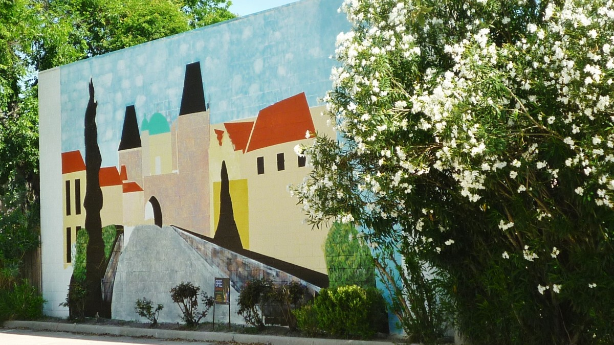 Mural in the parking lot at the Czech Center Museum