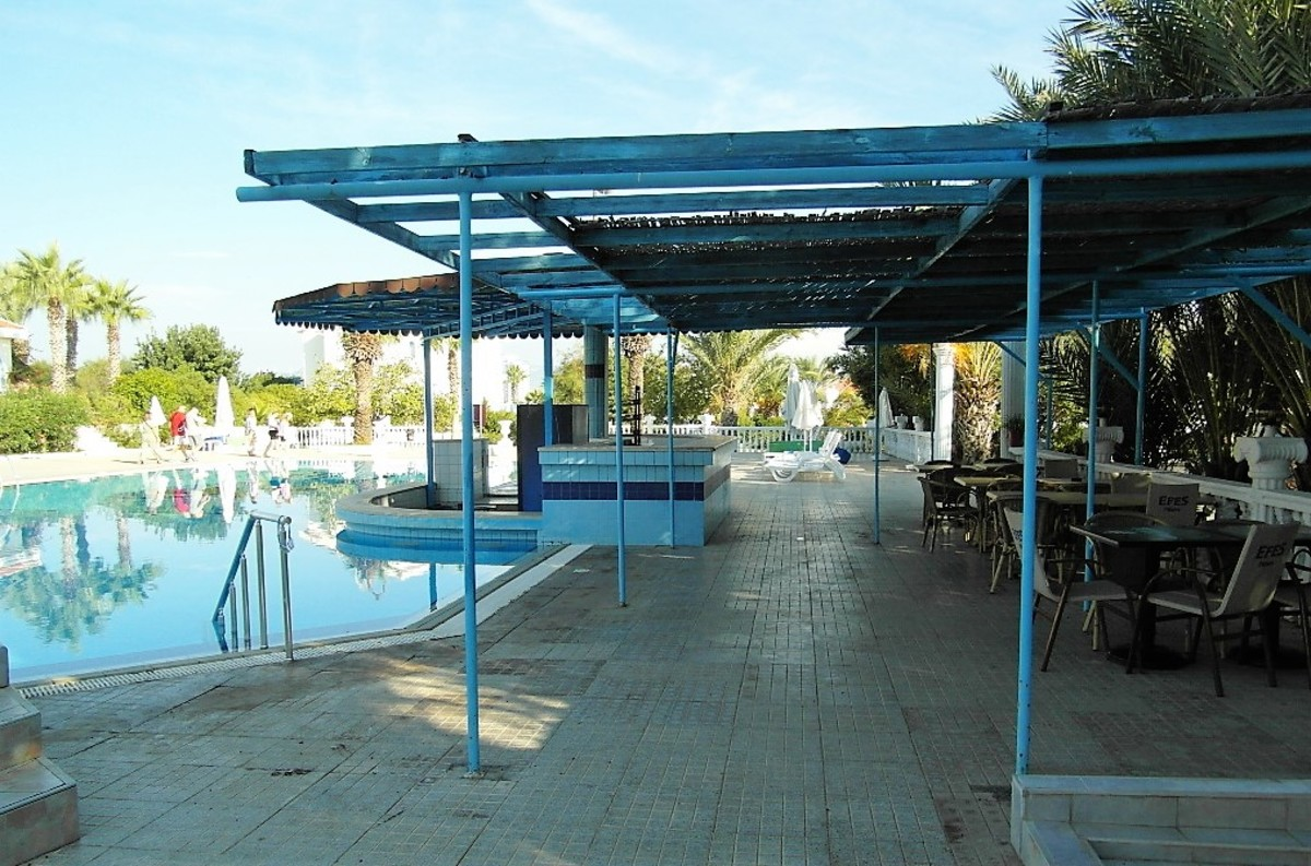 Shaded pool bar area.
