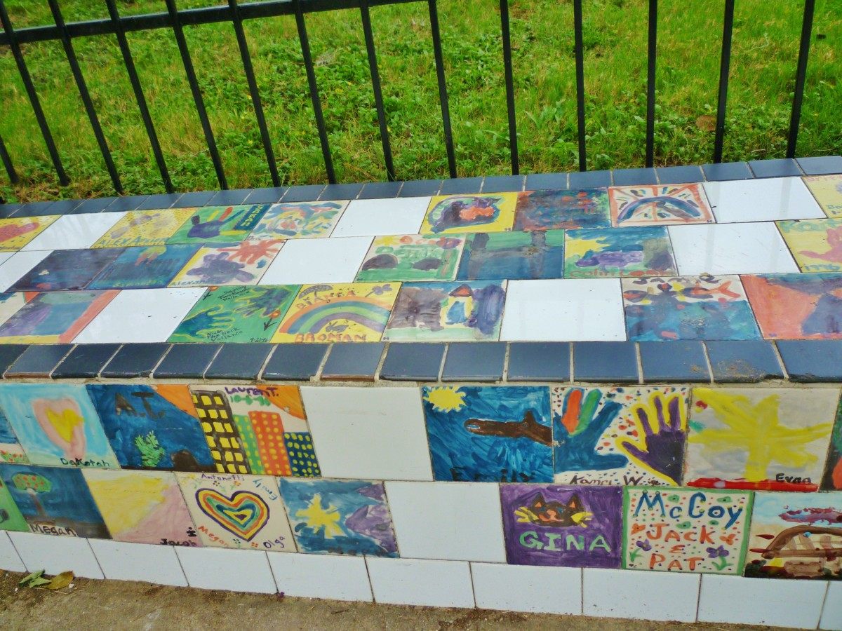 Handmade tiles embellish the exterior of Donovan Park.