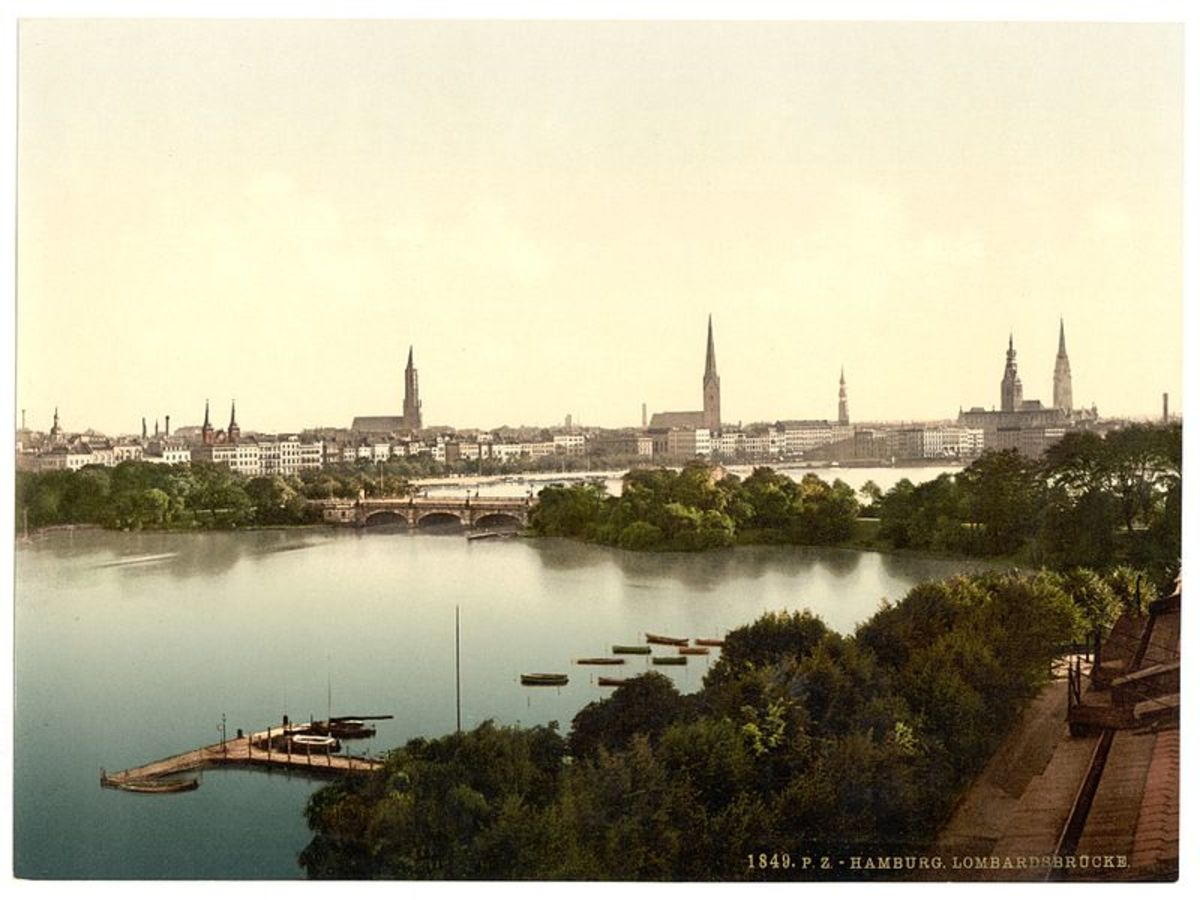 Lombards Bridge Hamburg Germany - Photochrom Print Collection / Public domain