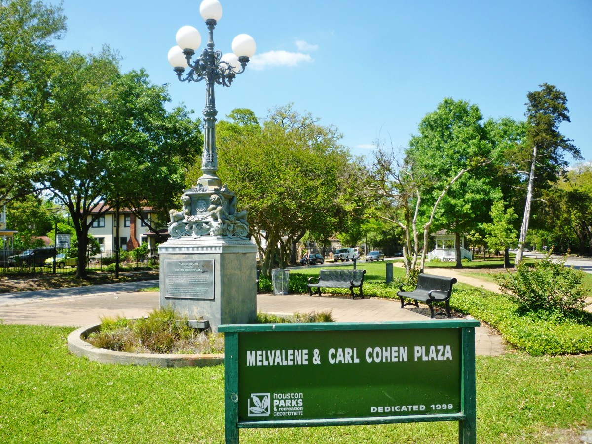 Melvalene & Carl Cohen Plaza with Lombard Lamp on Heights Blvd. in Houston