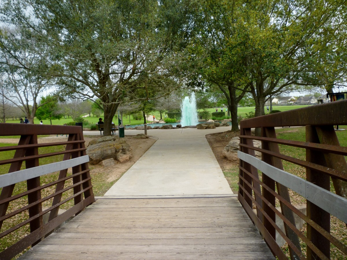 View of water feature when entering Oyster Creek Park from bridge