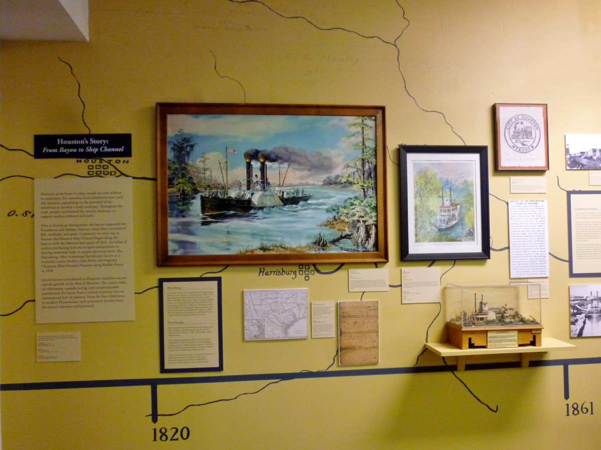 Room showcasing the history of shipping importance in Houston