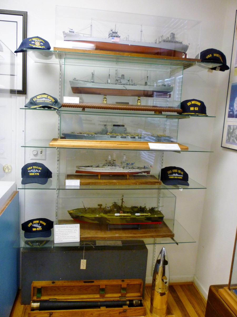 Many models of ships on display at Houston Maritime Museum