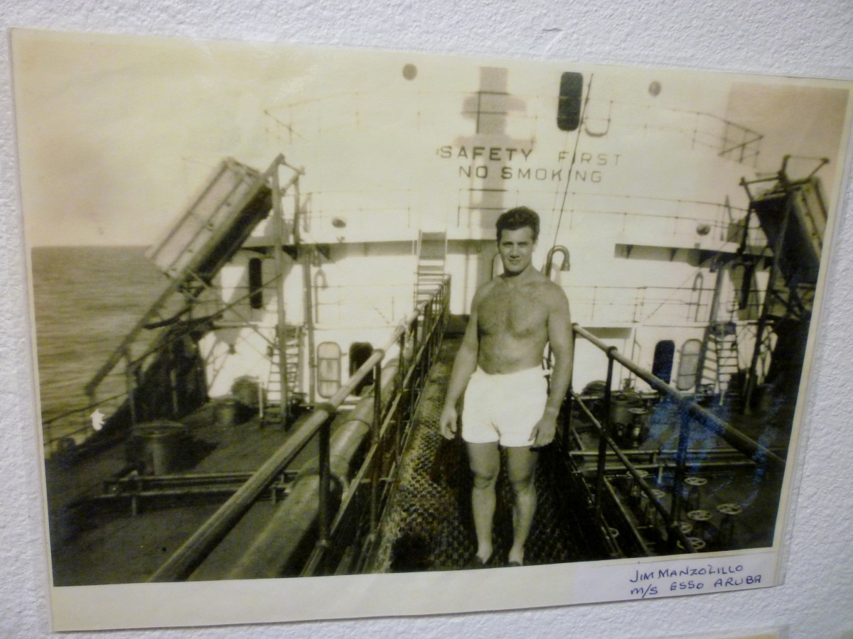 Picture of Jim Manzolillo as a young man shown at Houston Maritime Museum.