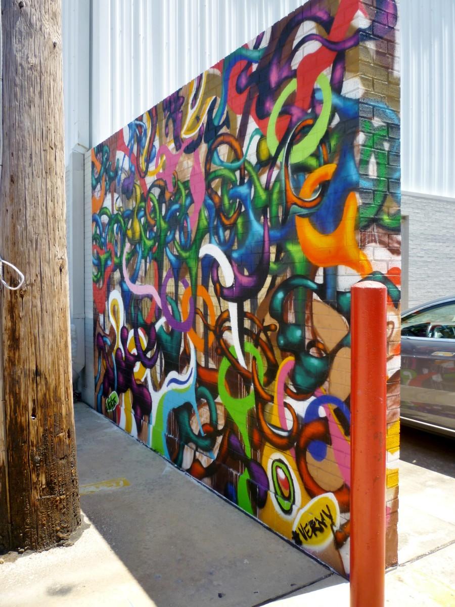 Verney Sanchez Mural by parking lot at Silver Street Studios