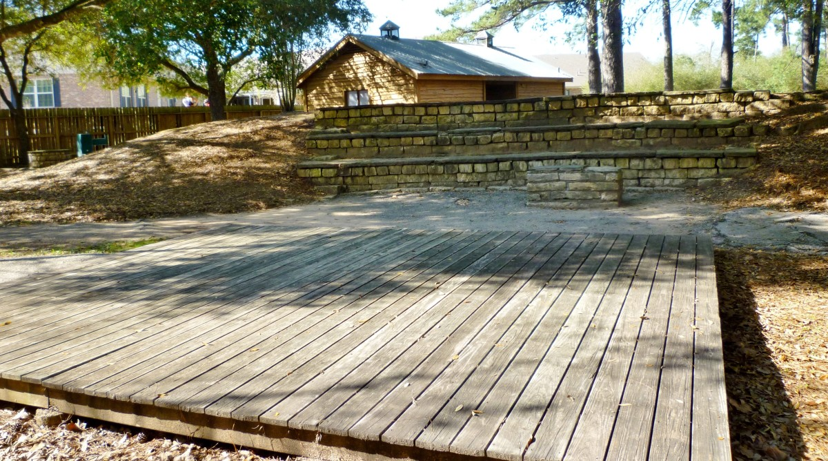 A different view of the stage and stone seating in the amphitheater