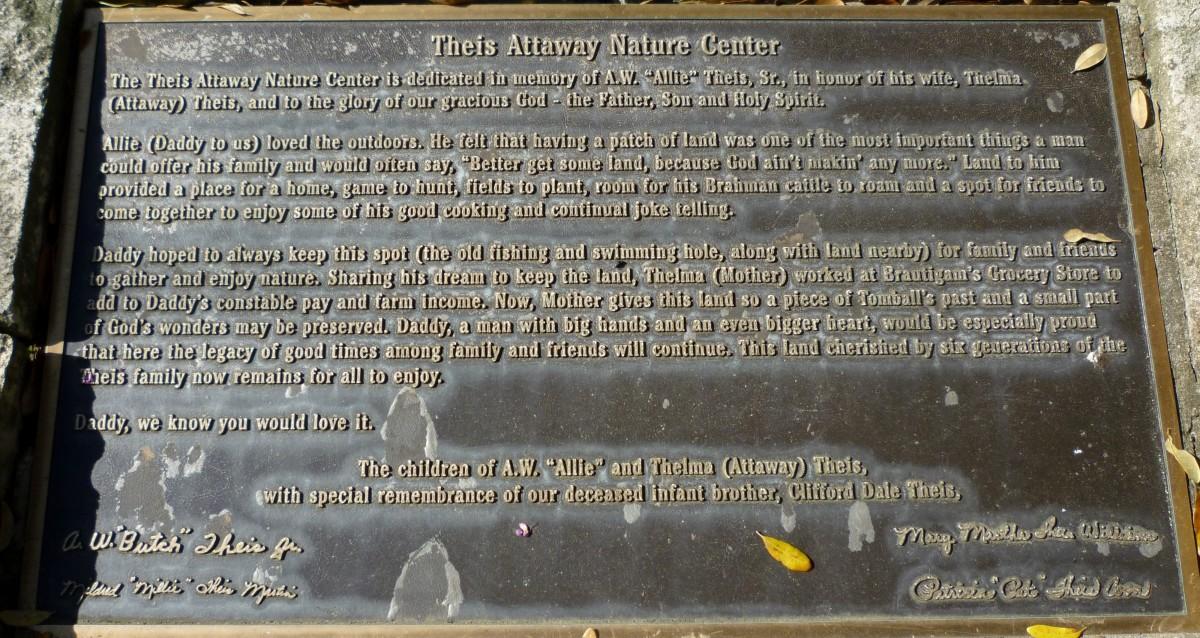 Theis Attaway Nature Center Dedication Plaque