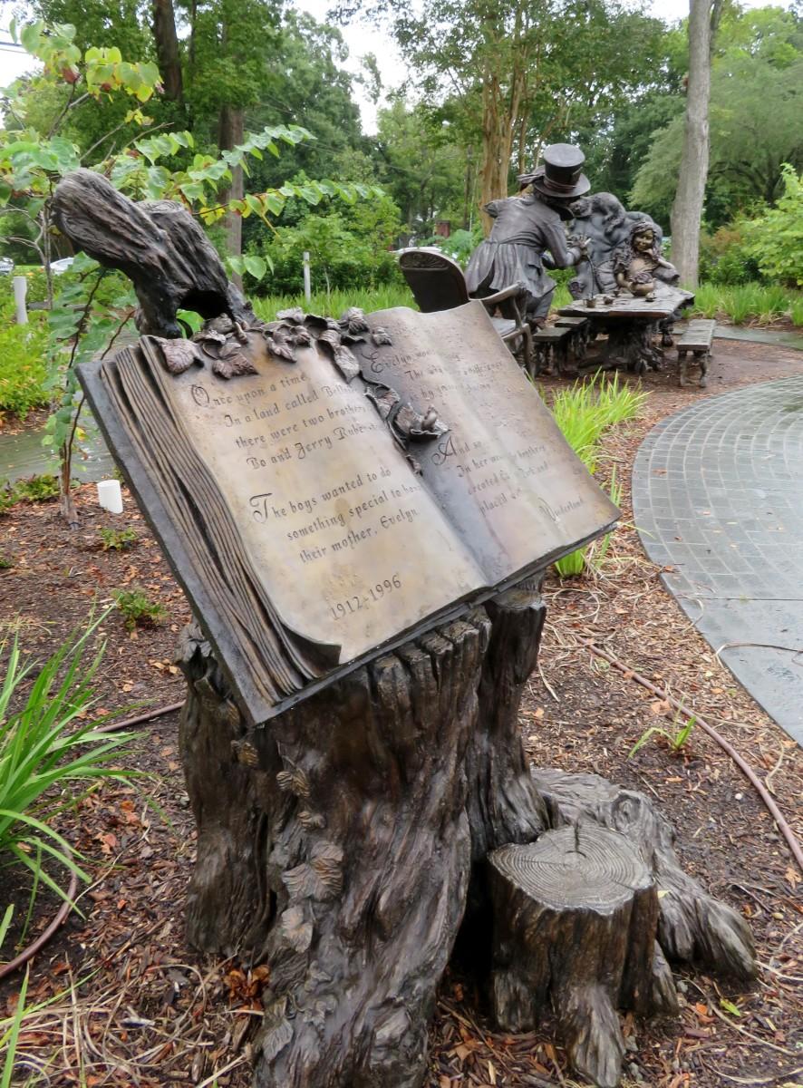 Dedication information and sculpture