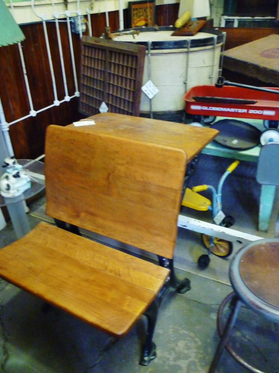 Old wooden school desk