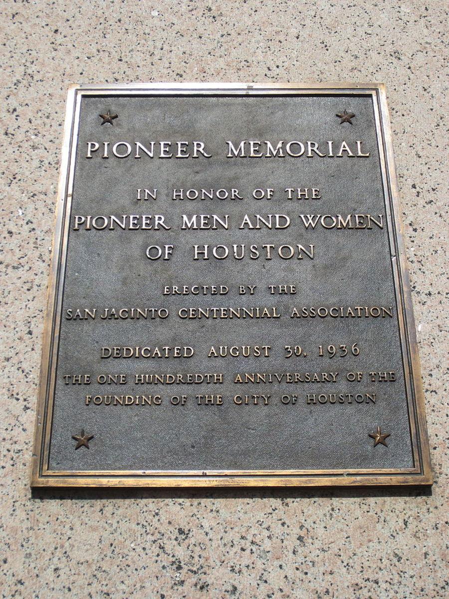 Dedication plaque on Pioneer Obelisk