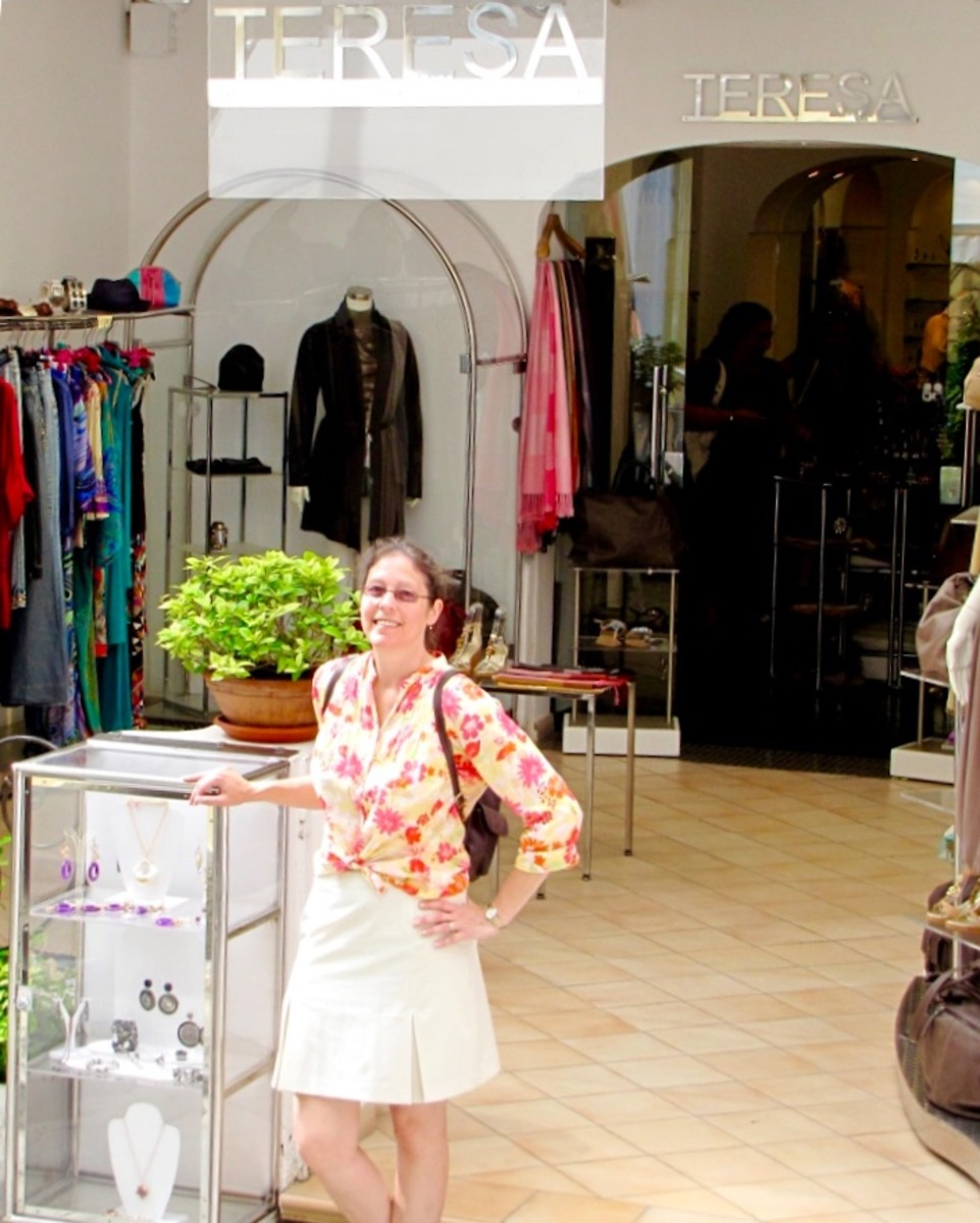 My wife, Theresa, shopping at Teresa's Boutique