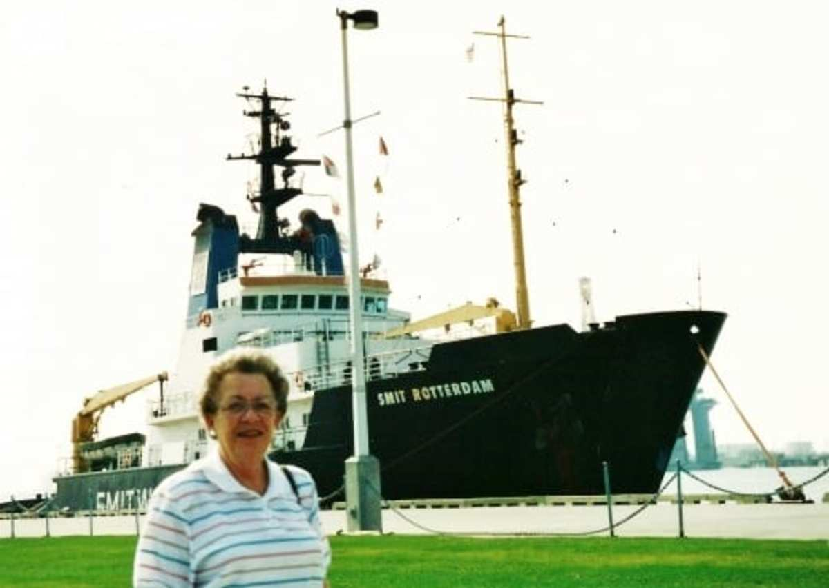 My mother with a ship seen in Galveston