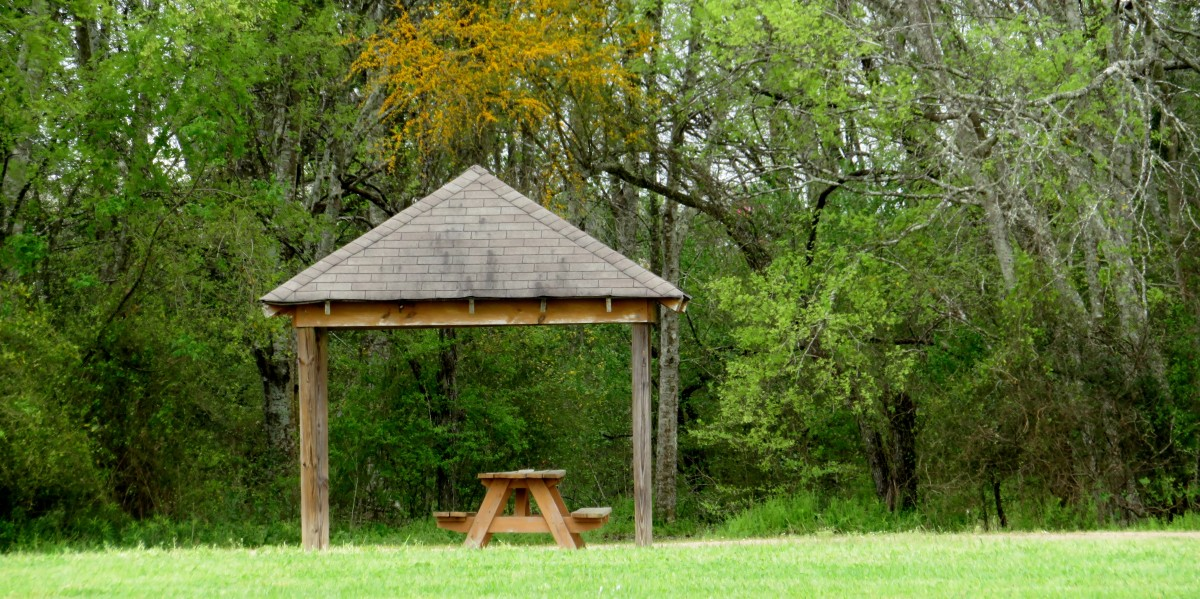 One of several covered picnic spots
