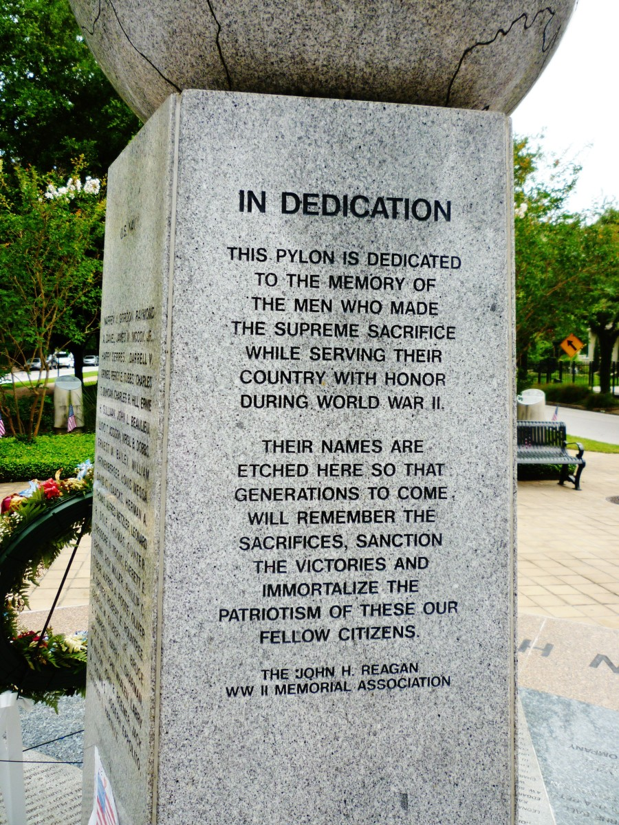 WWII Memorial in the Houston Heights
