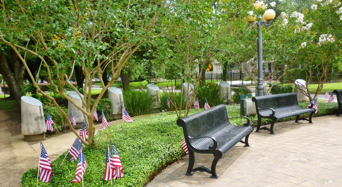 WWII Memorial with Benches and Bollards