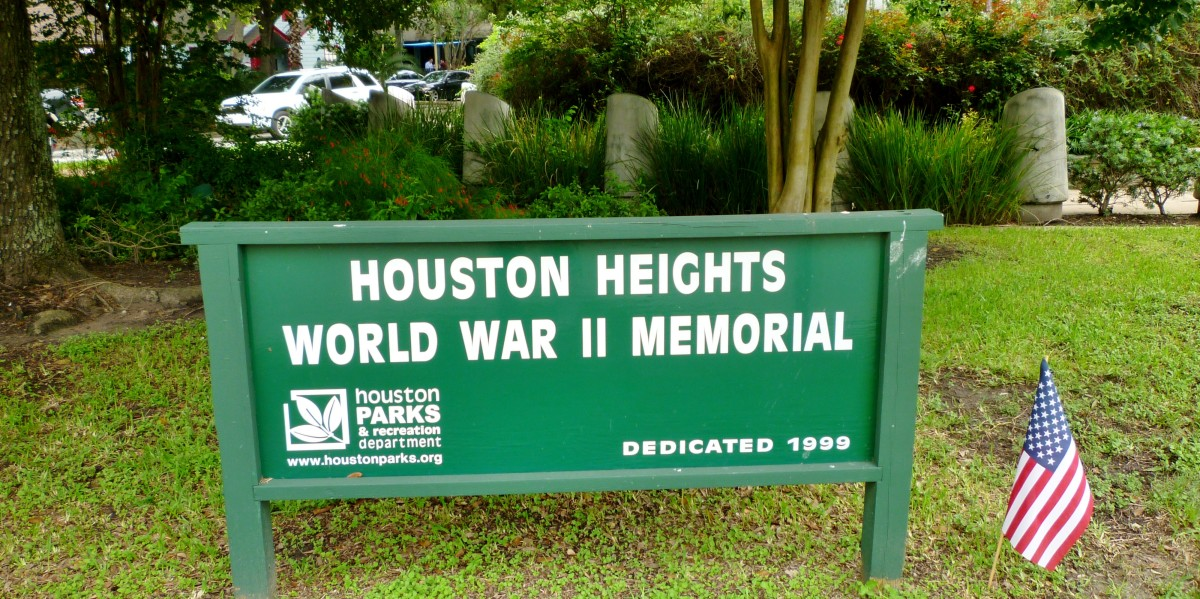 World War II Memorial located at East 11th St. and Heights Blvd., Houston, Texas 77008