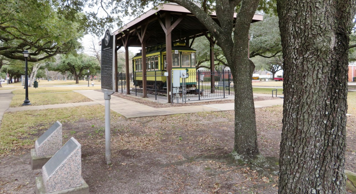 Streetcar on display in the park