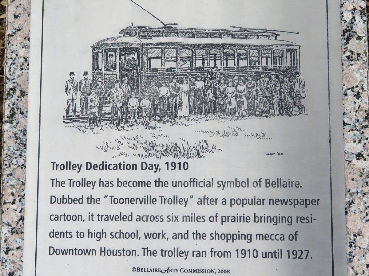 Bellaire Paseo Park Trolley Plaque