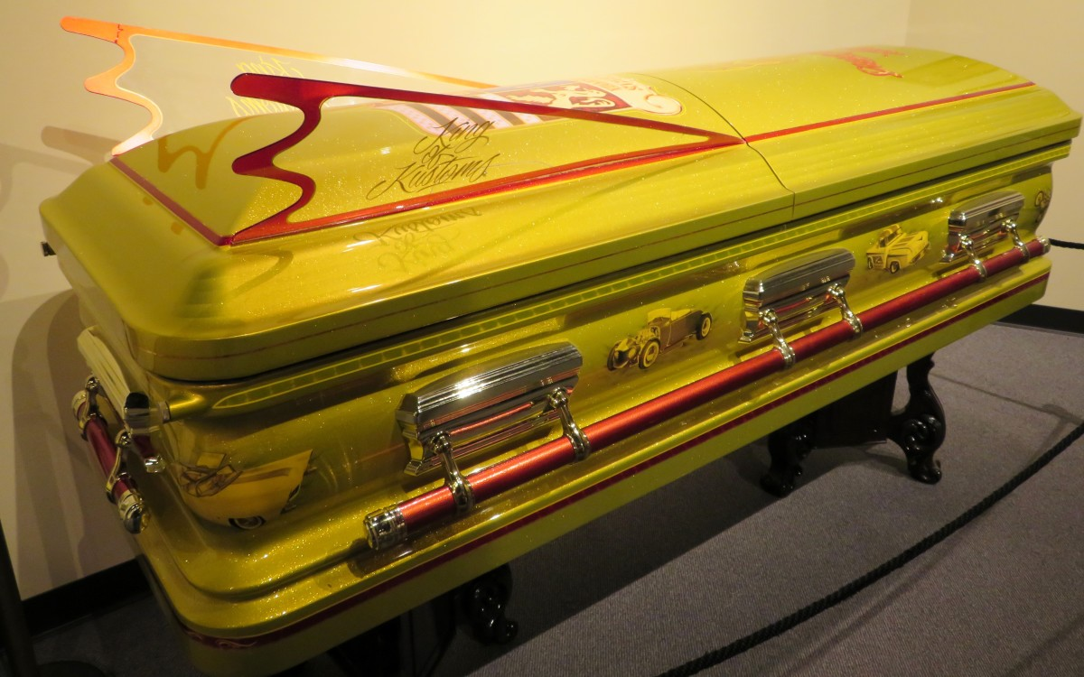 A replica of George Barris Casket at the National Museum of Funeral History