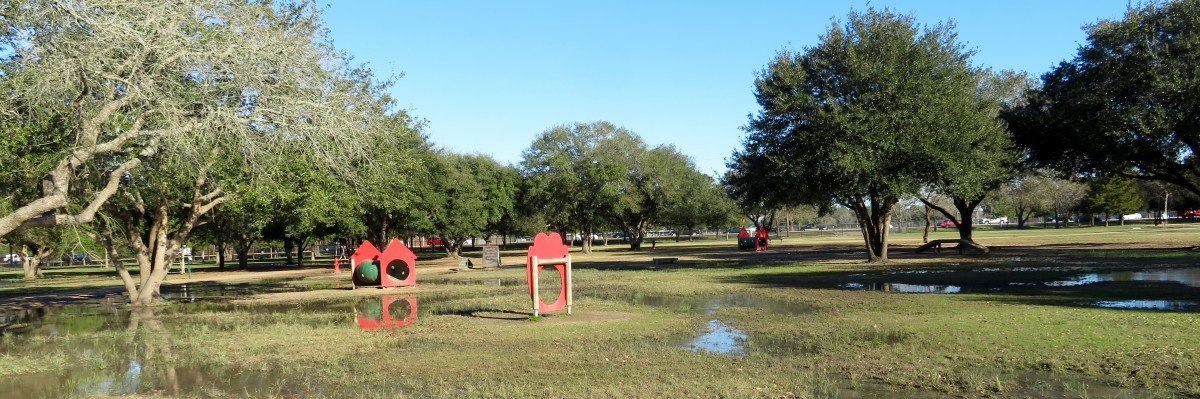 Dog agility course in both sections of Congressman Bill Archer Park