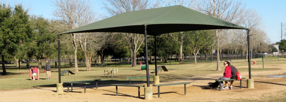Shaded seating areas in Congressman Bill Archer Park