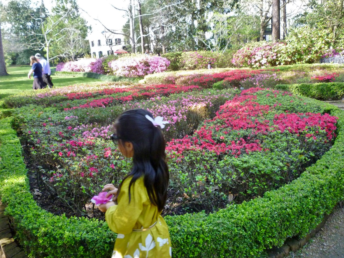 Girl walking by the butterfly shaped garden