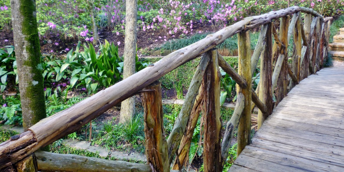 Rustic walkway in the gardens